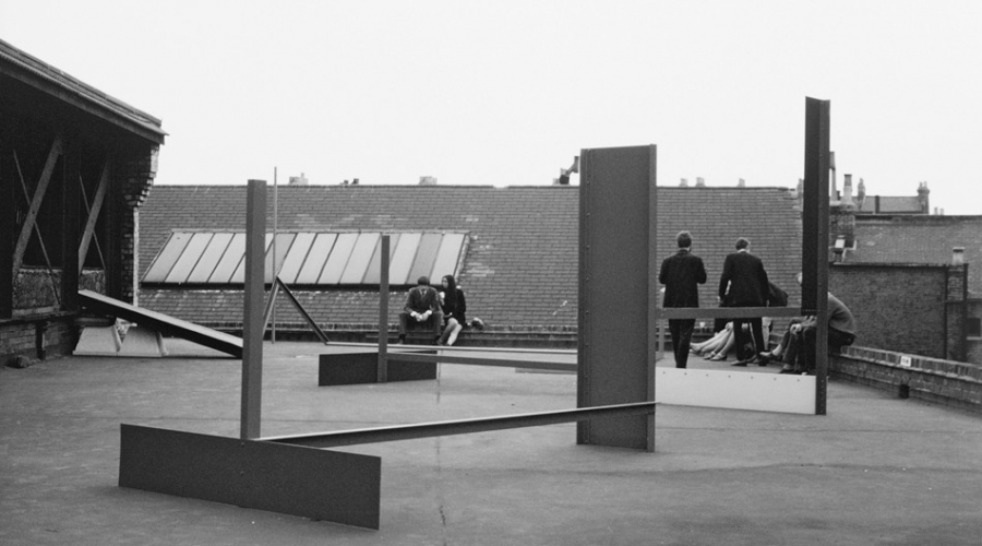 Installation view, Stockwell Depot: Sculpture Exhibition, Stockwell Depot, London,1968 with Peter Hide, Sculpture Number 2 (1968)