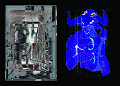 Neil Spiller, Hecate both within and without, 2015 (left) and Nic Clear, The Minotaur Constrained by Geometry, 2016 (right)
