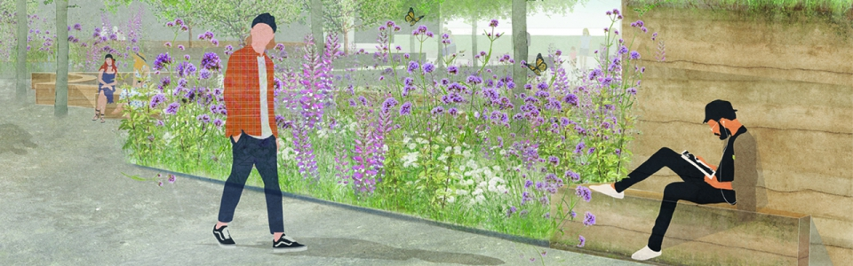 Architectural rendering by JJ Watters representing people using an external space with a garden.
