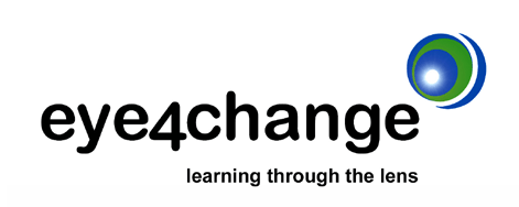 eye4change - Leaning through the lens (logo)