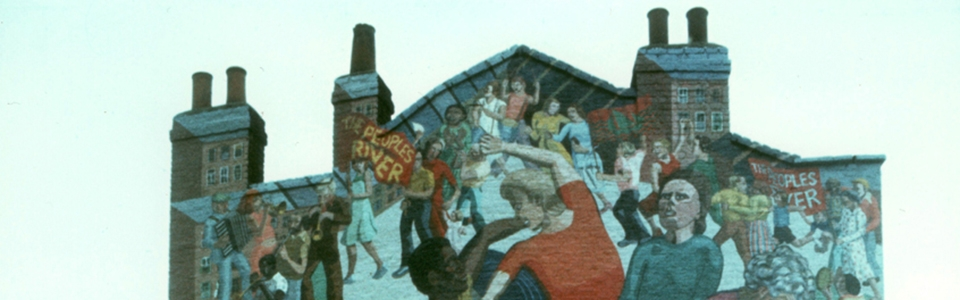 Mural on building titled People's River by Greenwich Mural Workshop