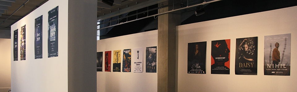 Picture of the Project Space with posters exhibited on the walls