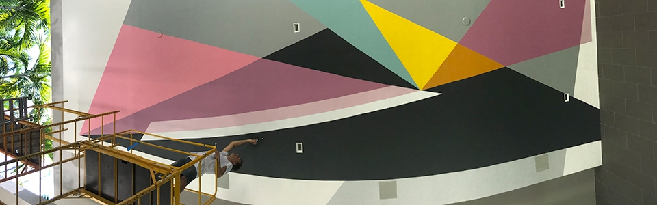 Jaime Gili at work on a ceiling murales