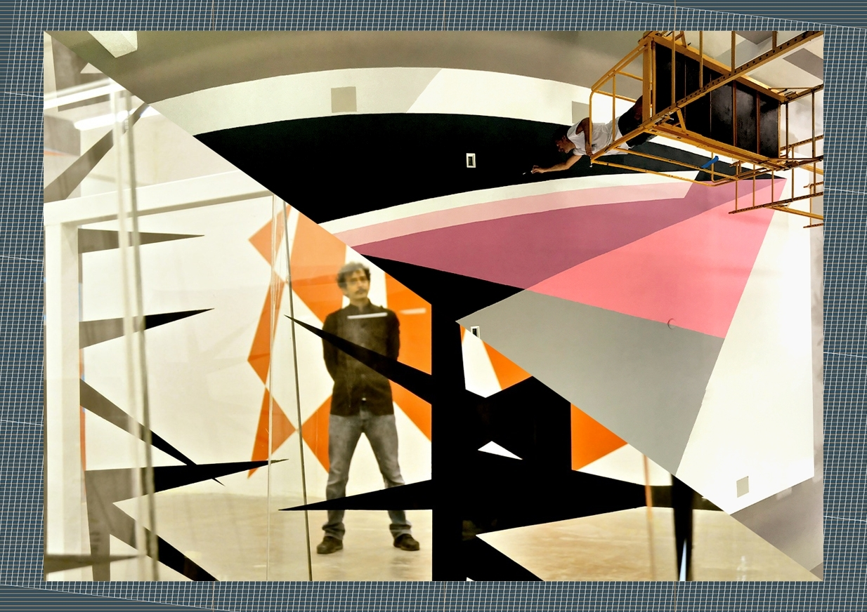 Two Images depicting Jaime Gili at work and in a studio setting (cut diagonally)