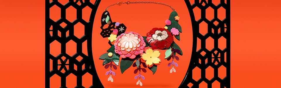 Kimono Bloom Statement Necklace, Tatty Devine (detail)